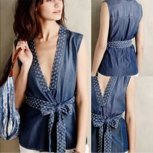 Holding Horses Top Embroidered Chambray Wrap XS